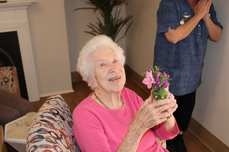 Lois with flowers
