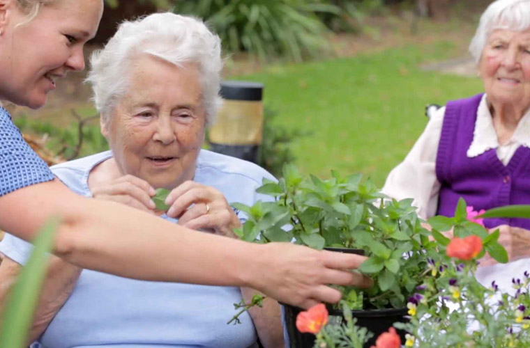 Jean gardening