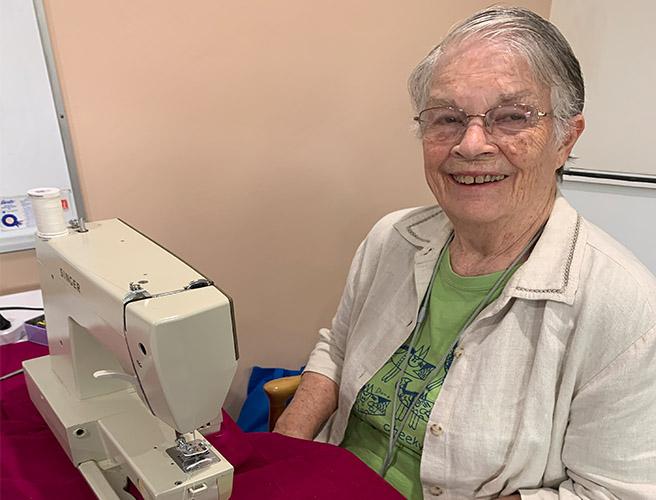 Liz sewing