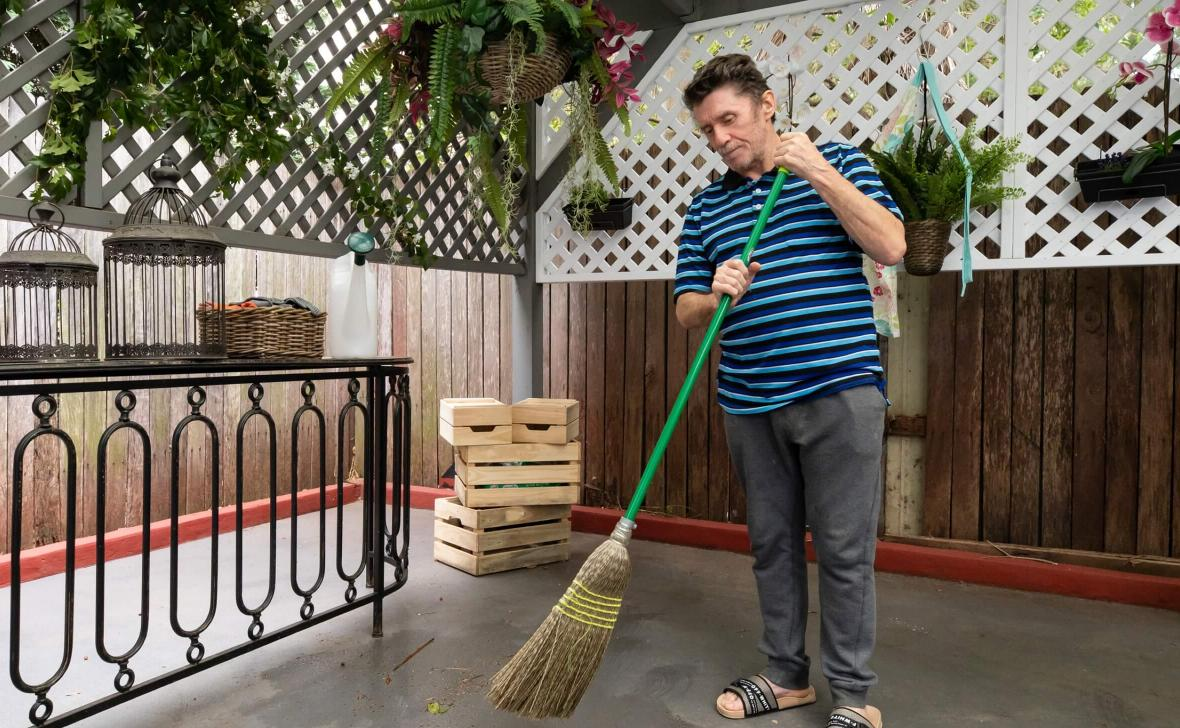 Annandale Grove resident sweeping