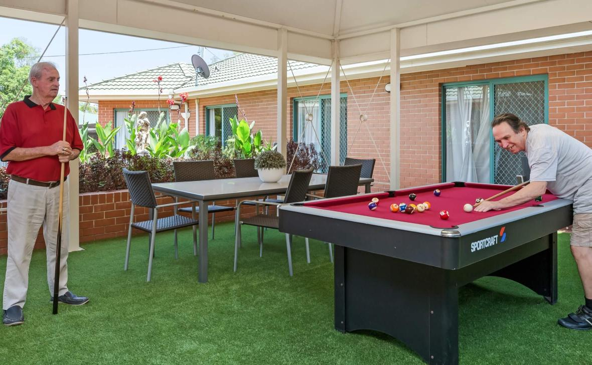 Burpengary Gardens residents playing pool
